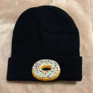 Black beanie Donut stitched on